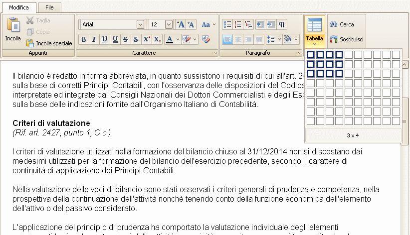 Editor avanzato per i testi