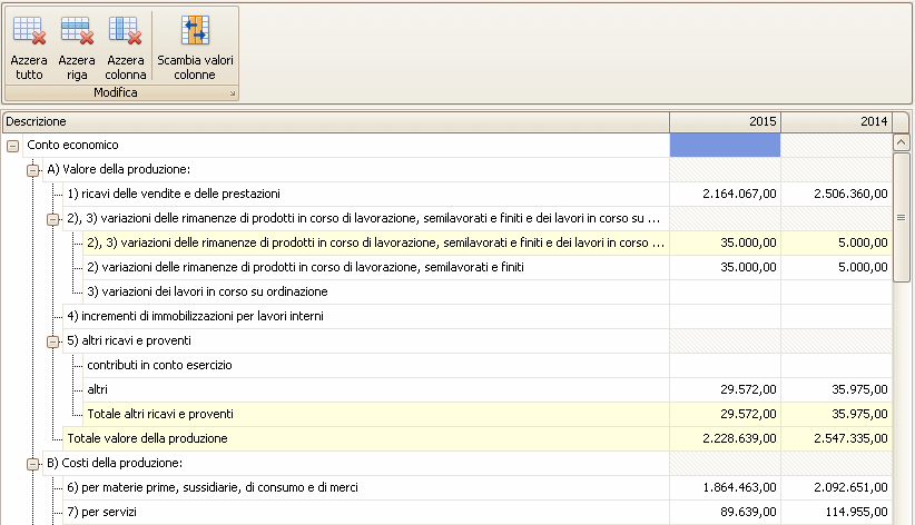 Editor specifico per le voci di bilancio